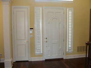 Stained Front Door and Shutters Painted White